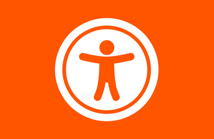 Universal 'access to Information' symbol in white on an orange background