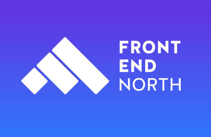 Front end north logo in white on blue background