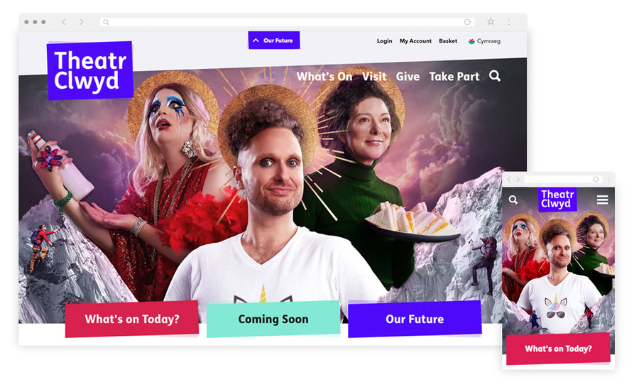 Theatr Clwyd website homepage on desktop and mobile