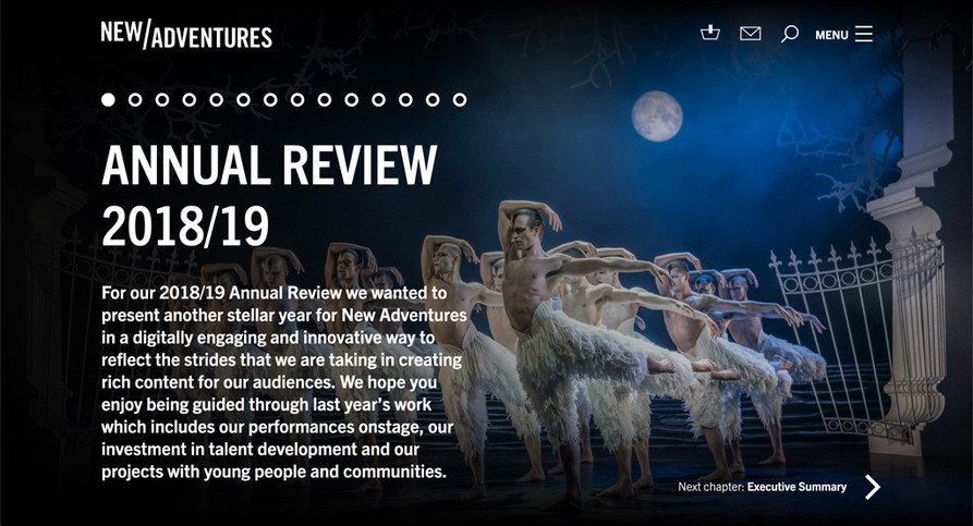 New Adventures' digital annual review cover page. Shows intro text over a full-page image of Swan Lake