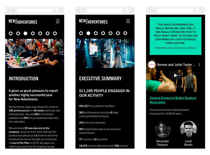 Three mobile views of an intro page, Executive Summary and Talent Development chapters