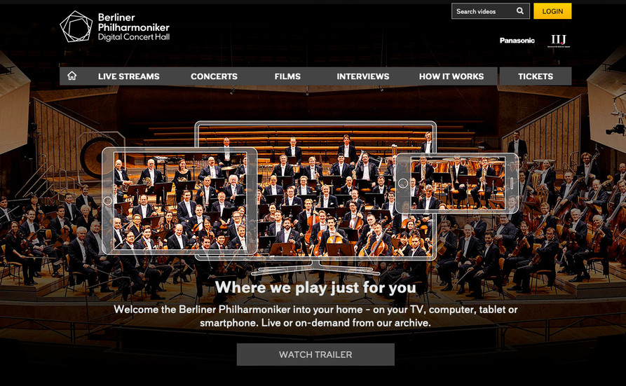 Berliner Philharmoniker's 'Digital Concert Hall' homepage