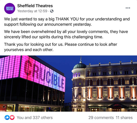Sheffield Theatres' post on Facebook thanks audiences for their support