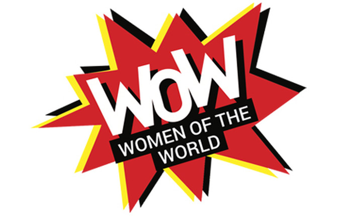 "WOW – Women of the World – logo; red yellow and black stylised 'explosion' shapes, with ""WOW Women of the World"" text on top"