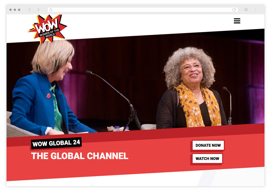 Screengrab of Jude Kelly and Angela Davis in conversation; under which are 'Donate' and 'Watch' button prompts