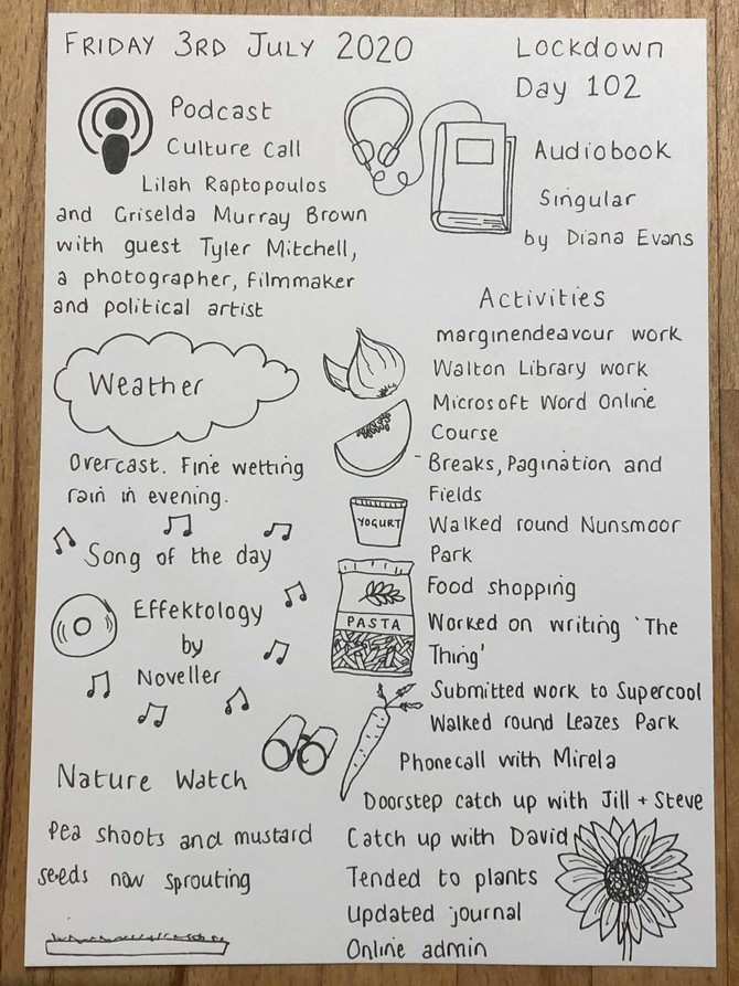 Handwritten and illustrated page from Fri 3 July, in Helen Shaddock's 'Locked In - Lockdown Diaries' series. Full page transcription and description included on the page
