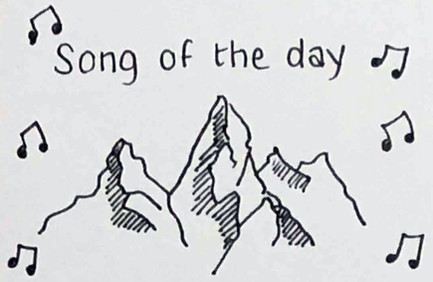 Cropped view of a journal page; shows the words 'Song of the day', surrounded by sketched musical notes, and a few mountain peaks