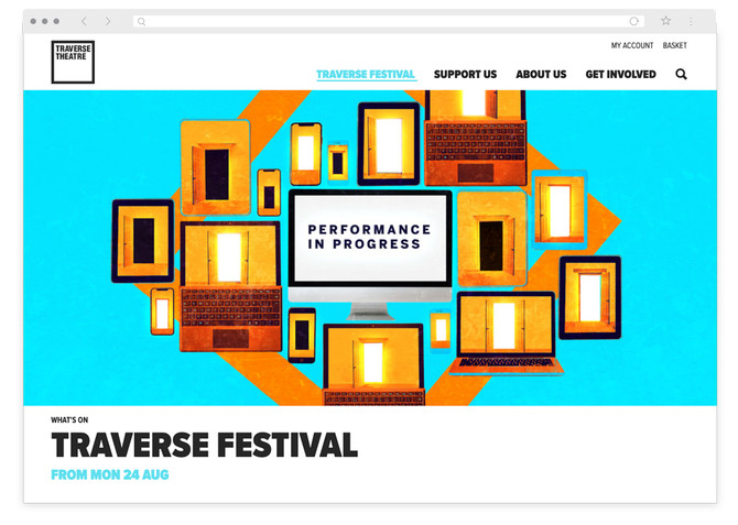 Desktop screenshot of Traverse Festival landing page. Collage of devices with central computer screen reading 'performance in progress'