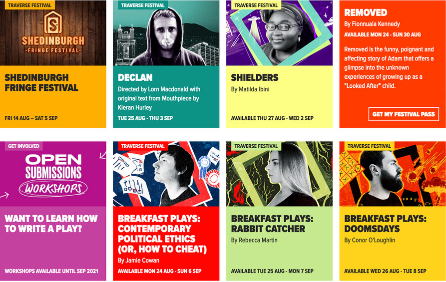 Screengrab of 8 colourful event cards from the Traverse Theatre website