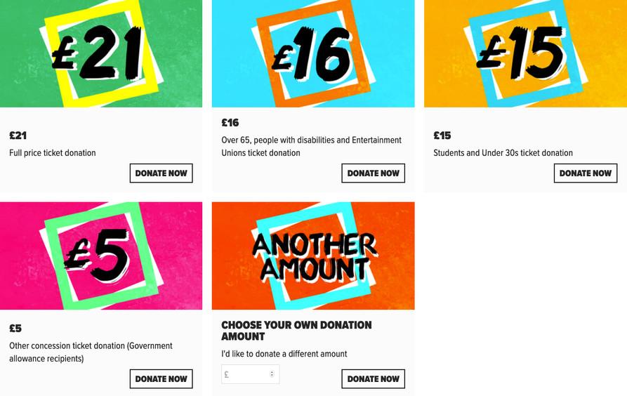 Screengrab of donations blocks showing varying amounts