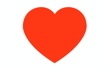 Orange-coloured graphic 'heart' shape on white