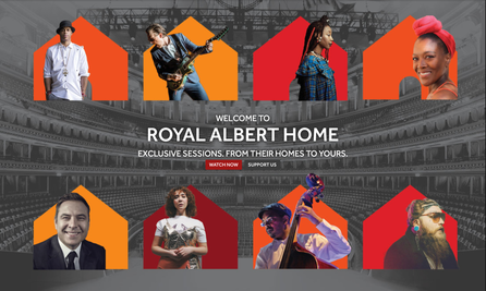 """Text reads: """"Welcome to Royal Albert Hall Home. Exclusive sessions from their homes to yours"""" then buttons read """"Watch now"""" and """"Support us"""""""