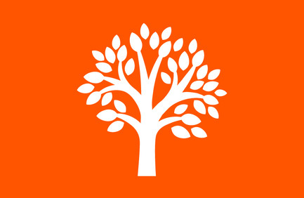 Orange background with white graphic representation of a tree