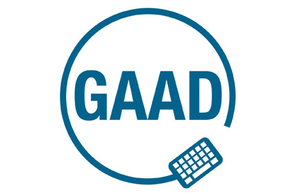 GAAD initials, surrounded by a circle and graphic representation of a keyboard