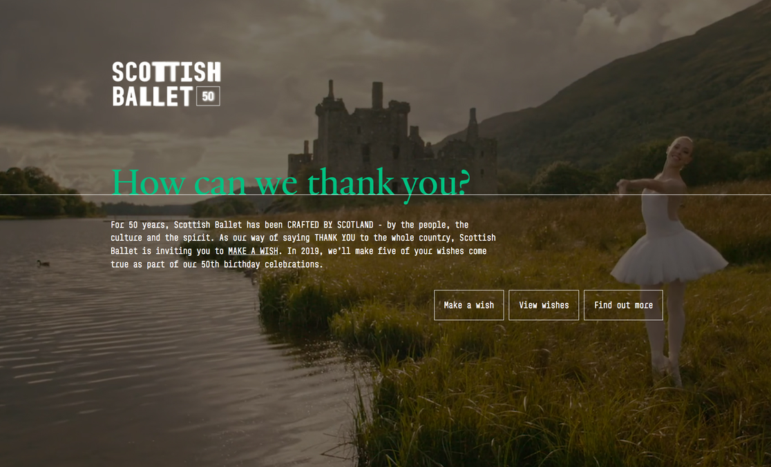 Scottish Ballet Make A Wish campaign microsite homepage