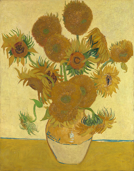 Impressionist-style painting (using many tones of yellow and some green) of a ceramic, bulb-shaped vase filled with 15 sunflowers