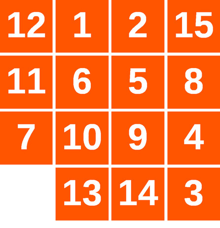 A solvable 15 puzzle – a 4x4 grid of numbers 1-15, with a space