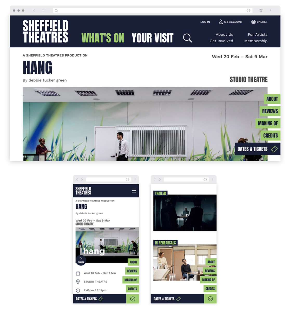 Show page for 'hang' on desktop and mobile