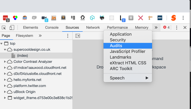 A cropped picture of the developer tools window in a browser. A double chevron has been clicked, showing additional menu items, Audits is highlighted