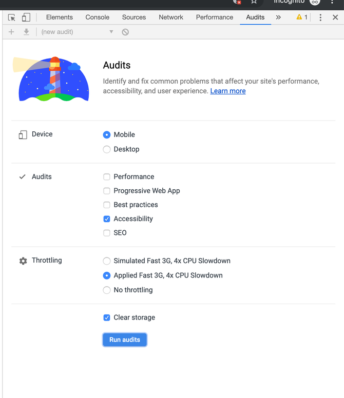 The Lighthouse audit start page with Lighthouse logo, and options to run the report by device, choose an audit and set throttling