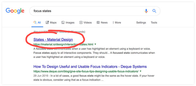 Screengrab of Google results for 'focus state' showing the first result underlined; therefore indicating focus