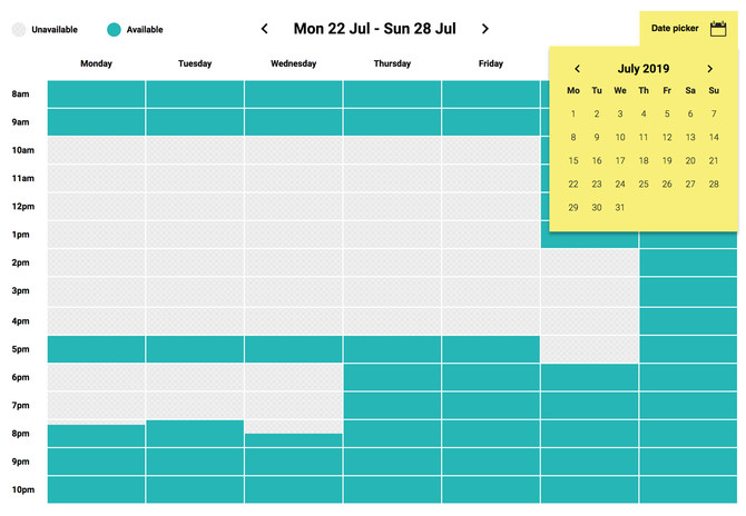 Griad showing room availability by date and time, with a calendar date picker above