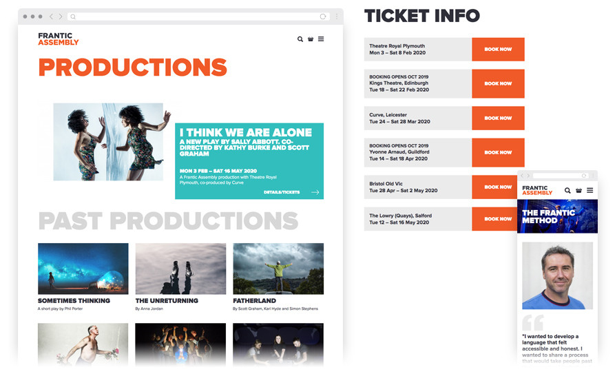 Frantic's Productions page show in tablet view, the user interface design for ticket listings, and a mobile view of the Frantic method page