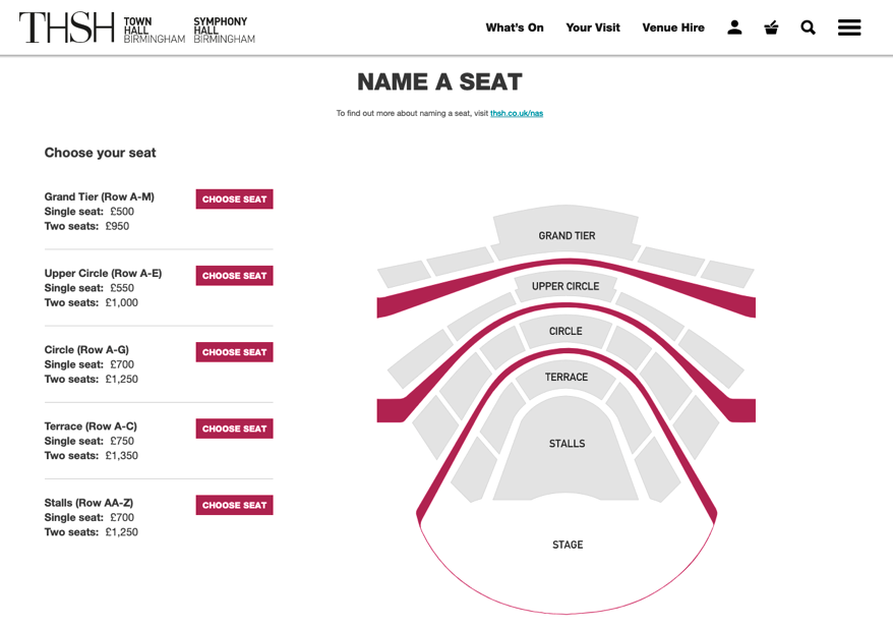 An image of an auditorium with different areas such as Stalls and Circle. On the left hand side is a list of areas and prices for naming a seat. For example, The Grand Tier costs £500 for a single seat or £950 for two