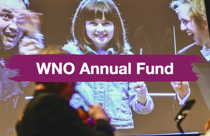 "Welsh National Opera's support page shows a brushstroke effect over an image of a kid and two musicians. The text says ""WNO Annual Fund"""