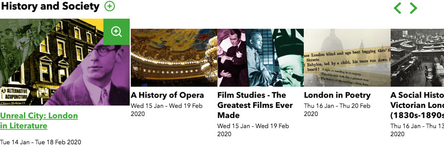 Example category 'History and Society' shows a row of card listings, featuring an image, title and date range