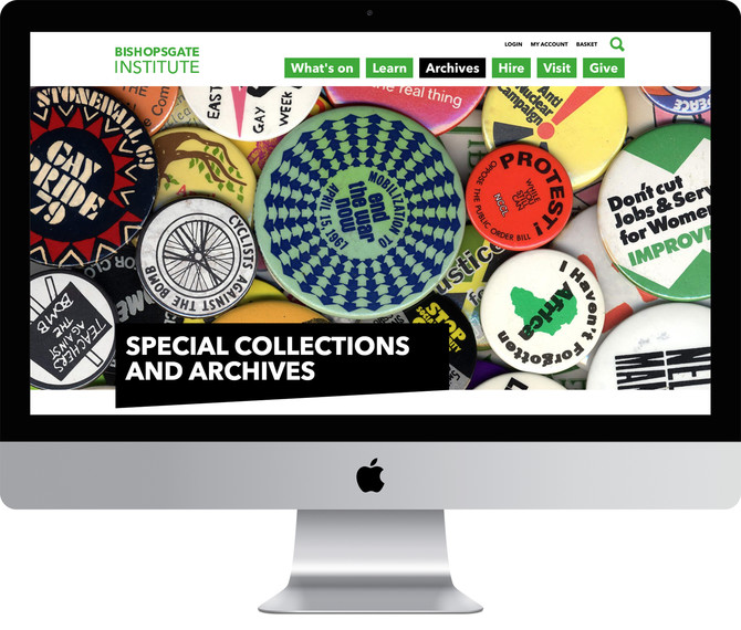Mock-up of the Archive landing page, showing a huge image of protest badges; part of the Bishopsgate Institute Archives