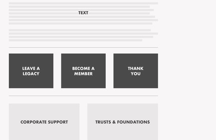Wireframe for THSH's the new Join & Support page