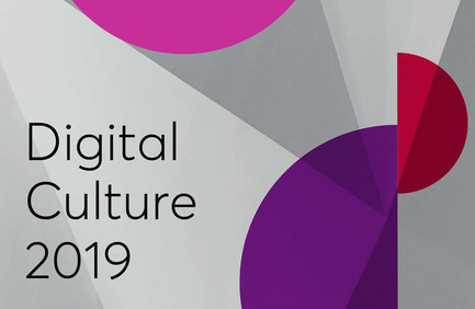 Cropped section of the Digital Culture 2019 report – some abstract grey triangles and warm-coloured semi-circles