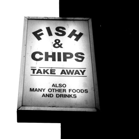 """Fish & chips take away"" sign"