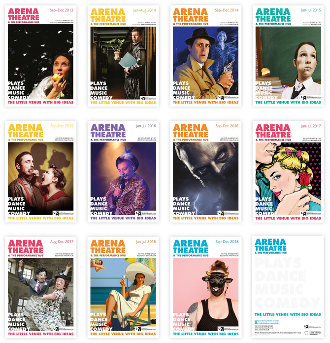 Arena Theatre brochure covers – 2013-2018