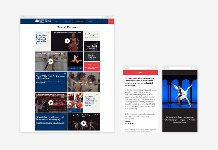 Birmingham Royal Ballet's website news page (desktop view) and an event page and image gallery on mobile