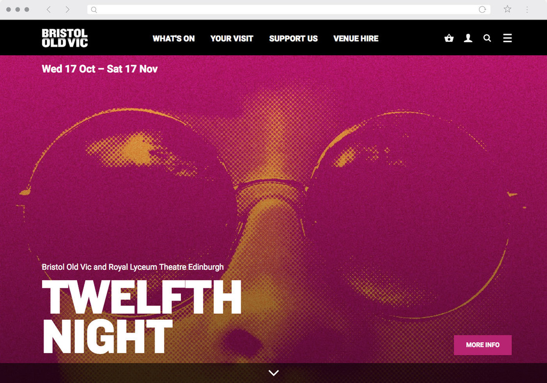 Bristol Old Vic homepage – a large image for a production of Twelfth Night