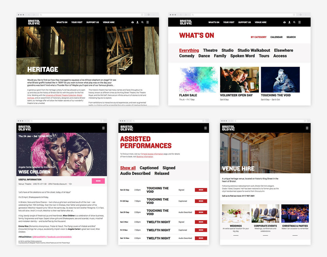 Bristol Old Vic website views on desktop and tablet