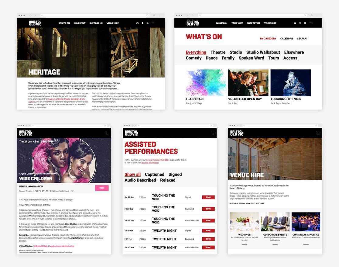 Bristol Old Vic website views on desktop and tablet