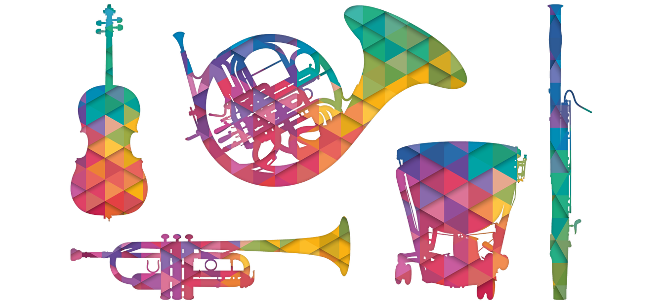 Illustrations of trumpet, tuba, cello, bassoon, timpani and french horn, filled with a multi-coloured, tessellated triangle pattern that's very bright and jolly