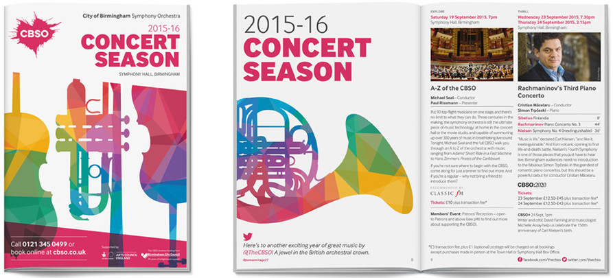 City of Birmingham Symphony Orchestra 2015-16 season brochure cover and spread