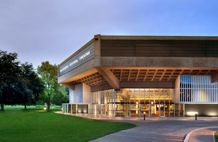 Exterior view of Chichester Festival Theatre at dusk