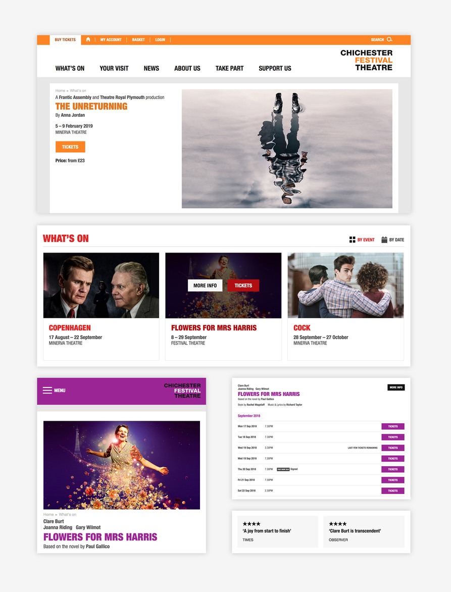 Various interface elements from Chichester Festival Theatre's website