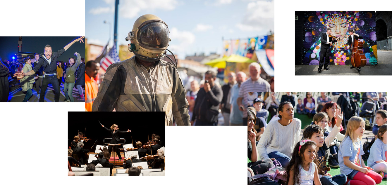 Culture Central image collage – an outdoor rave, an arty astronaut, classical music with graffit, and kids at a festival