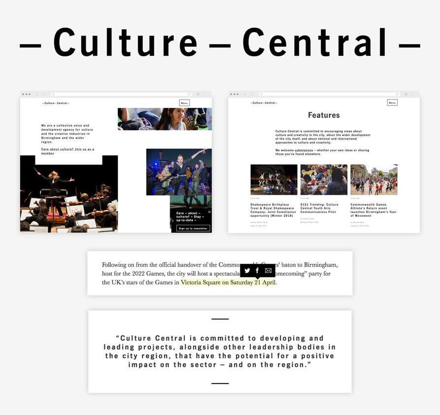 Culture Central logo, homepage and feature list on website, and text styling snippets