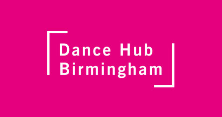 Dance Hub Birmingham logo – white on pink background