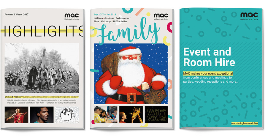 Three Midlands Arts Centre brochure covers – Highlights, Family and Event and Room Hire