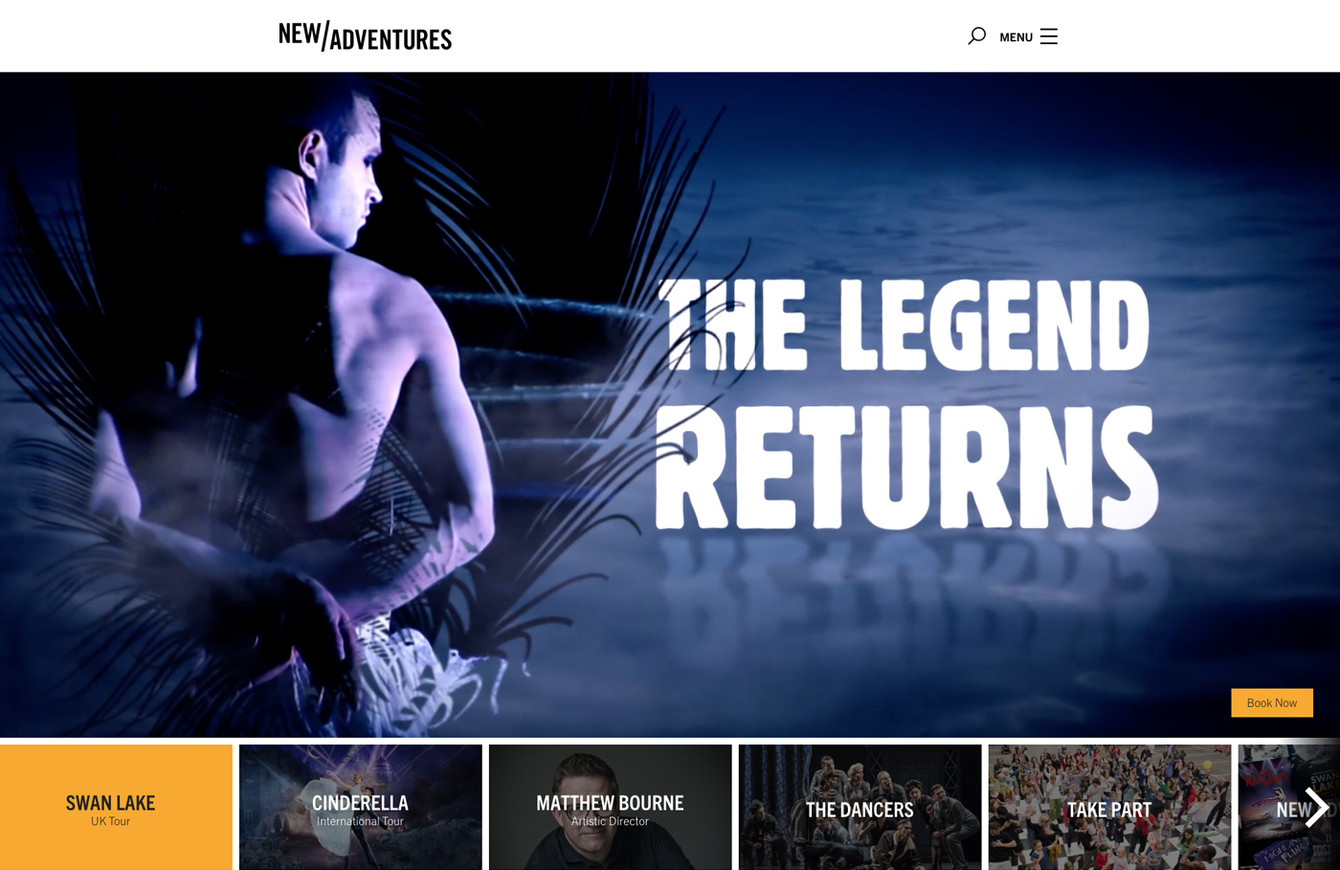 New Adventures website homepage, with large video trailer for Swan Lake