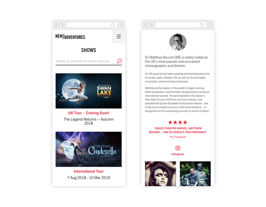 New Adventures website on mobile – show search, show News listings, and Sir Matthew Bourne's profile