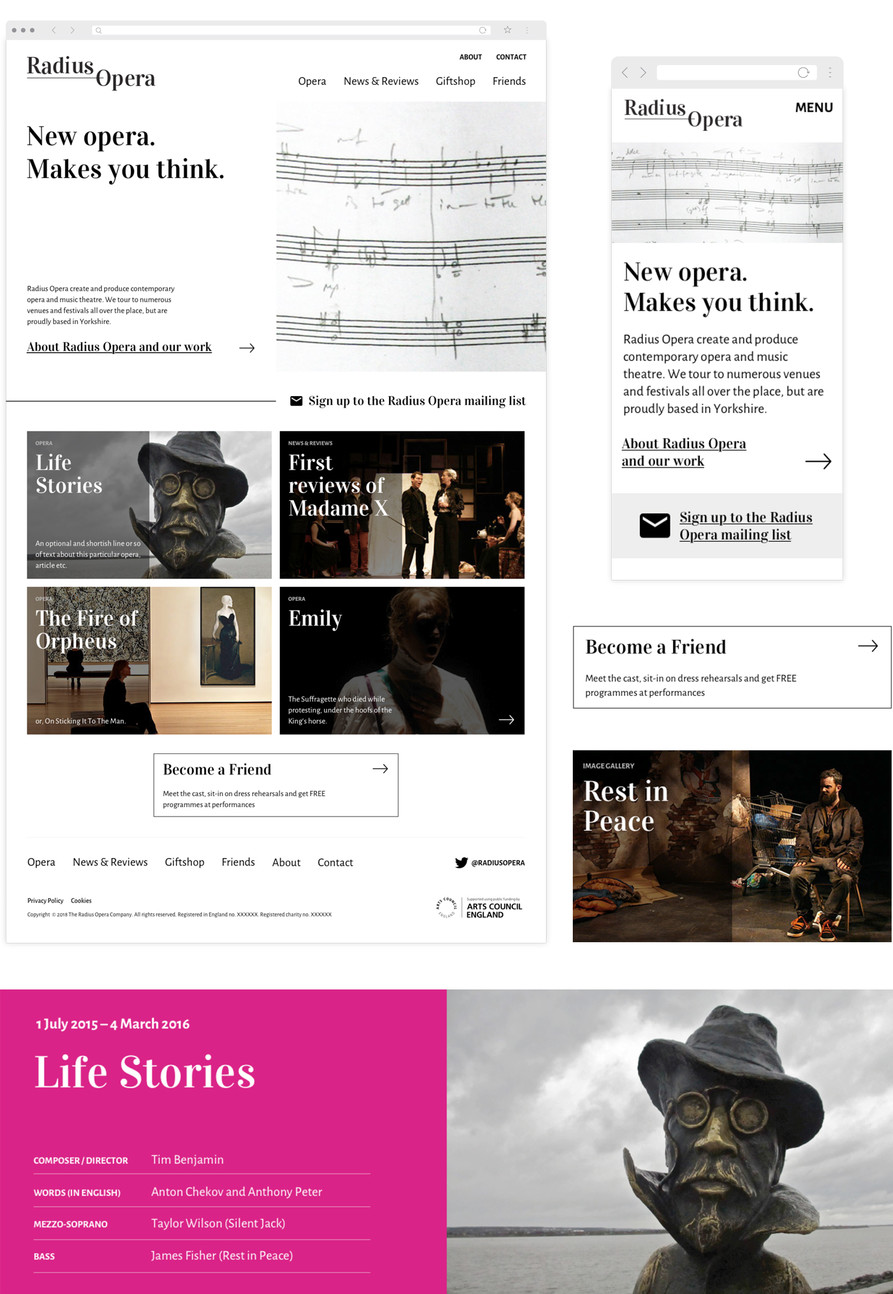 Radius Opera website user interface design